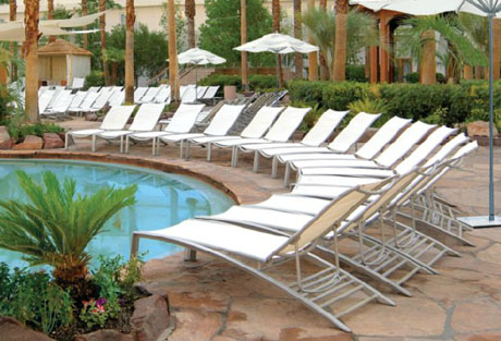 Tropitone South Beach Four Position Stacking Armless Chaise (Package of 3) poolside