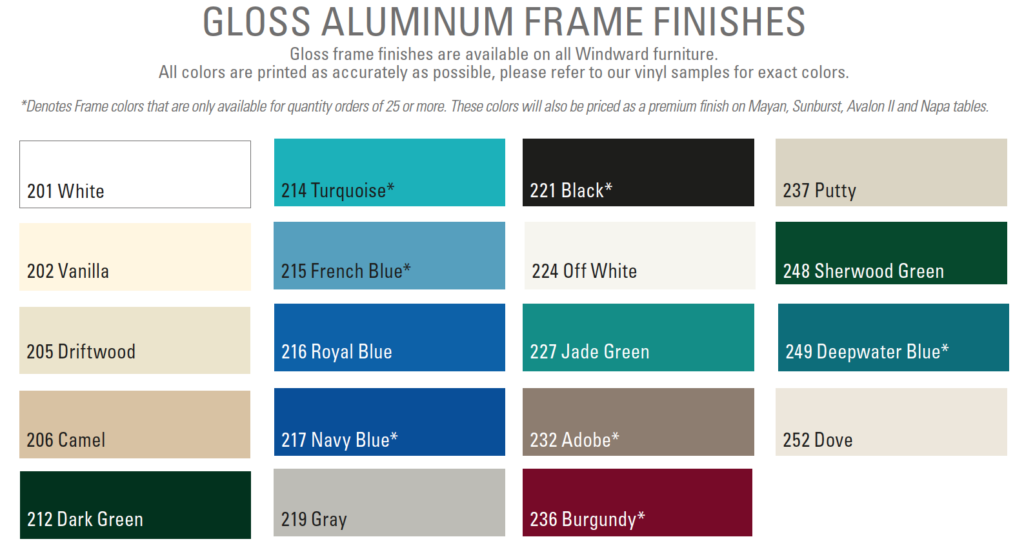 Windward Design Group aluminum frame finishes