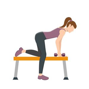 Woman on a bench with free weights